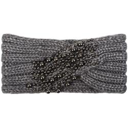 styleBREAKER Stirnband Strick Stirnband mit Twist Knoten und silbernen Perlen Strick Stirnband mit Twist Knoten und silbernen Perlen grau