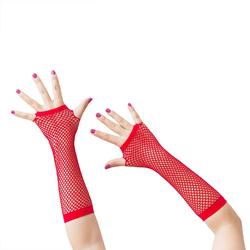 Netzhandschuhe lang fingerlos Party Karneval Fasching - rot