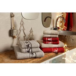 my home Handtuch Set Weihnachten (Set, 3-tlg), mit Sternen und Bordüre braun