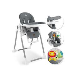 KIDIZ Hochstuhl 3in1 Hochstuhl, Sitzerhöhung, Hocker, Kinderhochstuhl inkl. Spielbügel, Babyliege, Kombihochstuhl, verstellbare Rückenlehne und Höhe,mitwachsend ab 0 grau