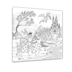 Bilderdepot24 Wandbild, Ritter vor einer Burg II - Ausmalbild 60 cm x 60 cm