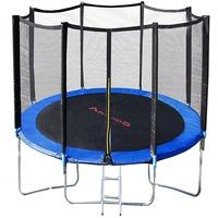 Arebos Trampolin 427 cm inkl. Sicherheitsnetz und Leiter schwarz/blau