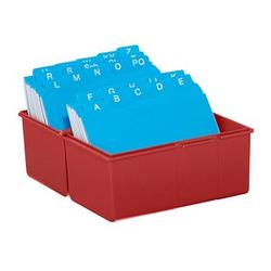 HAN A7 Karteikasten DIN A7   für 300 Karteikarten rot mit Deckel