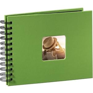 Hama Fotoalbum 24x17 cm (Spiral-Album mit 50 schwarzen Seiten, Fotobuch mit Pergamin-Trennblättern, Album zum Einkleben und Selbstgestalten) grün