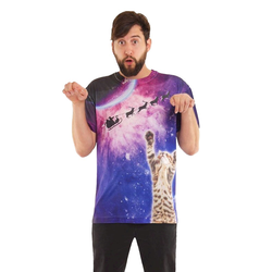 Halloween Men's Ugly Christmas Galactic Kitty Costume T-Shirt - S, Men's, Size: Small, Black/Pink/Purple