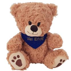 Heunec® Kuscheltier Bär, sitzend mit blauem Halstuch, mit individuell bestickbarem Halstuch