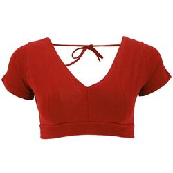 Guru-Shop T-Shirt Choli Top, bauchfreies Top Goa-chic - rostrot S/M
