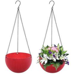 Favson Hängekorb 2 Stück Körbe Blumenampel Strick Halterung Set Haken Hängeampeln Hängepflanztopf