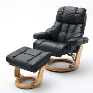 TV Sessel in Schwarz Leder Relaxfunktion (2-teilig)