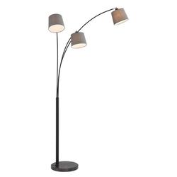 Home affaire Stehlampe Tannegg, Stehleuchte / Bogenlampe mit Marmor - Fuß, graue Stoffschirme Ø 14,5-18 cm