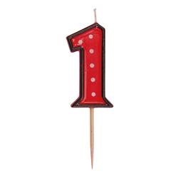Zahlenkerze, Geburtstagskerze `1` rot, ca. 85 mm