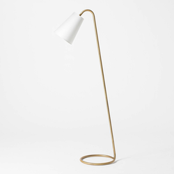 Metal Tube Leaning Floor Lamp (Includes LED Light Bulb) Brass - Threshold designed with Studio McGee