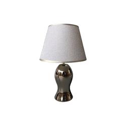 dynamic24 Nachttischlampe, Homea Keramik Tischlampe 37cm Tischleuchte Glitzer Lampe Leuchte Chrom Optik