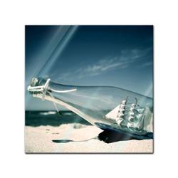 Bilderdepot24 Wandbild, Glasbild - Buddelschiff - Schiff in der Flasche 20 cm x 20 cm