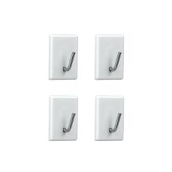 Metaltex Gardinenhaken, 4-teiliges Set, Selbstklebende Gardinenhalter für die einfache Befestigung an der Wand, Farbe: weiß