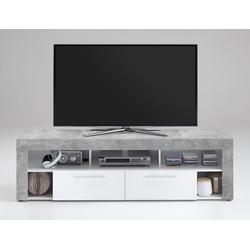 TV-Lowboard TV-Board Multimedia Lowboard in Beton-Dekor und Abs. in weiß mit 5 Fächern und 2 Schubkästen, Maße: B/H/T ca. 180/53/41,5 cm