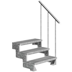 Dolle Außentreppe Gardentop, für Geschosshöhen bis 66 cm, Stufen offen, Gitterroststufen 100 cm