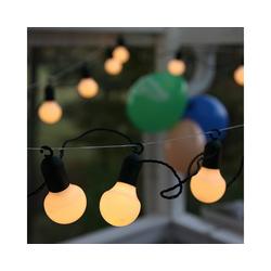 STAR TRADING LED-Lichterkette LED Party Lichterkette f. Terrasse Balkon 20 weiße Kugeln L: 5,7m mit Haken, 20-flammig