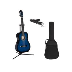 Gitarrenset Konzertgitarre 1/4, inkl. Gitarrentasche und Gitarrengurt blau