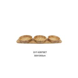 Schäfer Elektronik Schale Schäfer Bambus Bambusbrett 50 x 10 x 5 cm Snackschalen 4er Set Mantez Servier-Schale für Snacks, Dipps, Nüsse, Bambus
