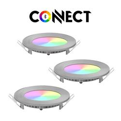 Connect LED Einbaustrahler LED 3er-Set Einbaustrahler 1080lm RGB+CCT
