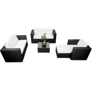 XINRO® Polyrattan Lounge Möbel Set erweiterbar - Lounge Polyrattan XXL - schwarz - Garnitur Lounge Sitzgruppe Gartenmöbel - Gartenlounge Set inkl. Lounge Sofa + Sessel + Hocker + Tisch + Kissen
