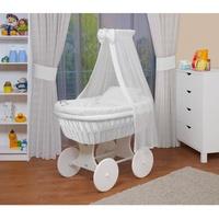 Waldin Baby Stubenwagen-Set mit Ausstattung,XXL,Bollerwagen,komplett,18 Modelle... weiß, weiß