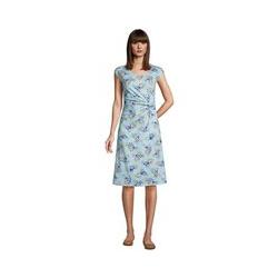 Jersey-Wickelkleid, Damen, Größe: L Normal, Blau, by Lands' End, Glänzend Blau Hibiskus Floral - L - Glänzend Blau Hibiskus Floral