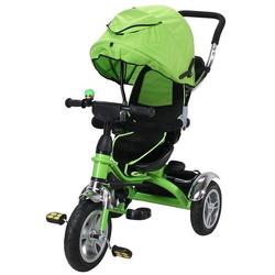 miweba Kinder-Buggy Kinderdreirad 7 in 1 Schieber Kinderwagen, 360° Drehbar - Luftreifen - Dreirad - Ab 1 Jahr grün
