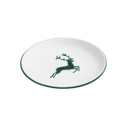 Gmundner Keramik Speiseteller Dessertteller Cup Hirsch grün