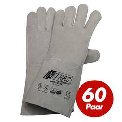 NITRAS Schweisserhandschuhe Welder 20435 Schweißer Spaltlederhandschuhe, 60 Paar - Größe:10