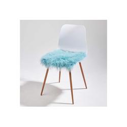 BUTLERS Sitzkissen TASHI Lammfell Stuhlauflage 35x35 cm blau