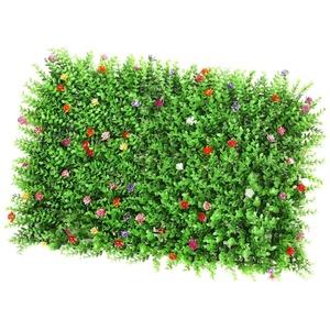 HomeDecTime Kunstrasen Teppich Rasenteppich Wanddekoration Kunstpflanze Pflanzenwand für den Innen Außen Bereich Deko - Rasen mit Blume
