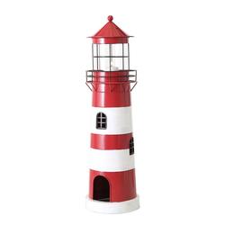 BOLTZE Teelichthalter Laterne LEUCHTTURM rot weiß aus Metall Windlicht maritim Strandhaus Deko - GROSS
