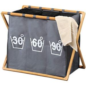 Kesper, 19597, Wäschesammler, Bambus, Grau, faltbar, tragbar