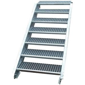 Stahltreppe Industrietreppe Aussentreppe Treppe 7 Stufen-Stufenbreite 80cm / Geschosshöhe variabel 100-140cm verzinkt Gitterrosttreppenstufen Tiefe 24cm