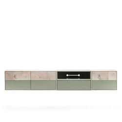 Fernseh Unterschrank in Beton Grau und Buche hell 260 cm breit