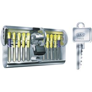 BKS B 8812 0065 hochwertiger, profesioneller Einbaudoppel-Profil-Zylinder PZ88, 55/55, Messing vernickelt matt mit je 3 Schlüssel und Befestigungsschraube