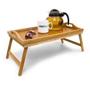 relaxdays Tabletttisch Bambus Betttablett