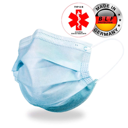 3-lagige medizinische Gesichtsmaske Typ II R von BLF Protection, blau