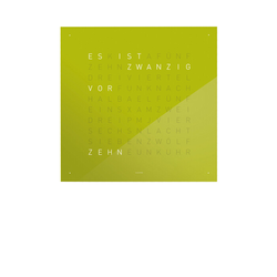 Wanduhr Qlocktwo grün, Designer Biegert & Funk, 45x45x4.5 cm