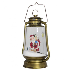 Schneiende LED-Laterne gold Santa - 35 cm