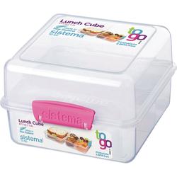sistema Brotschale Brotdose 3-fach unterteilt klar/pink