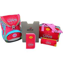 DerDieDas Schulrucksack Set Ergoflex XL Love 5-tlg. + gratis Tuschkasten