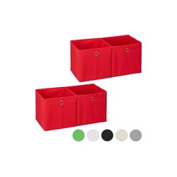 relaxdays Aufbewahrungsbox 4 x Aufbewahrungsbox Stoff rot