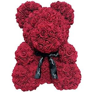 Loozykit 25cm Rose Teddybär Rosenbär, handgemachte Rose Blumenbär mit Schleife, künstliche Blume Rosenbär, Forever Rose für Valentinstag, Jubiläum, Hochzeit, Geburtstag (Rosenbär-Weinrot)