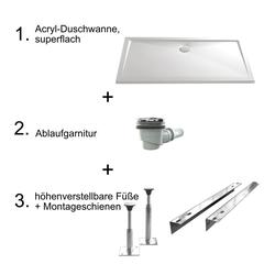 HSK Acryl-Duschwannen-Set, superflach 90 × 160 × 3,5 - 4,5 cm… Weiß