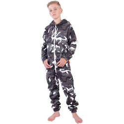 O'Poppy Jumpsuit Onsie camouflage grau (1-tlg) Zwergen Kapuze 98-104