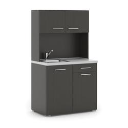 Büroküche primo mit spülbecken und mischbatterie, wenge