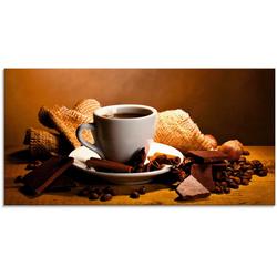 Artland Glasbild Kaffeetasse Zimtstange Nüsse Schokolade, Getränke (1 Stück) 60 cm x 30 cm